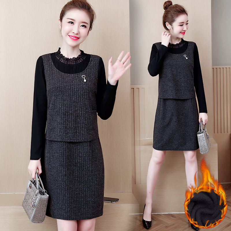 Big size female fat mm 2018 new autumn winter plus thick dress fat sister clothes fake