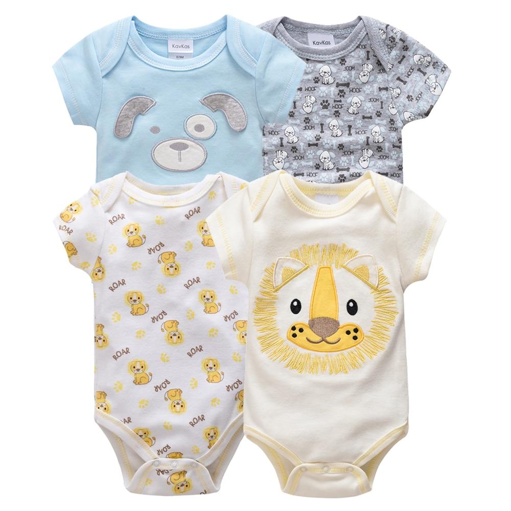 Kavkas/одежда для сна для маленьких мальчиков, комплект из 4 шт./компл., одежда с короткими рукавами для новорожденных, пижамы для мальчиков, Infantile, одежда для сна для маленьких мальчиков - Цвет: HY20802170