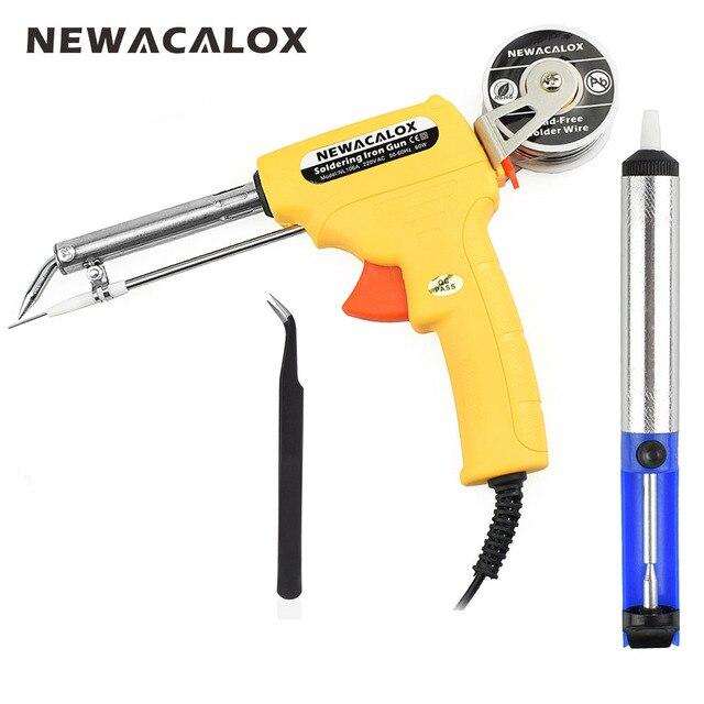 NEWACALOX 220 В 60 Вт ЕС паяльник Третий ручной пистолет автоматически отправлять олова автоматической пайки машины + всасывания олова устройства