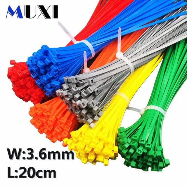 20 pièces/sac 4x200 4*200 3.6mm largeur auto-bloquante vert rouge bleu jaune Nylon fil attaches Zip. serres-câbles