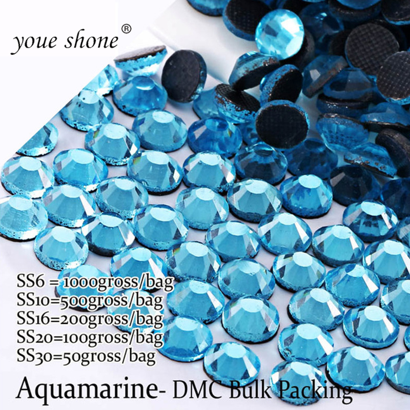 Youe Shone SS6-SS30 Large Package Aquamarine Rhinestones Decorative Clothing Hotfix Compatible Glue Stones And Crystals