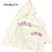 Brand ChanJoyCC Hot Sale Family Matching Outfits Parents Child's Solid Long Sleeve Warm  Hoodies Sweater Casual cotton100%