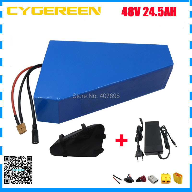 48V 24.5AH Lithium battery 48V 25AH ebike battery 48 v Triangle shape use samsung 3500mah cell 50A BMS With bag 2A Charger free shipping 48v 30ah 2000w lithium electric bike battery use for samsung 3000mah cell with 54 6v 2a charger and 50a bms