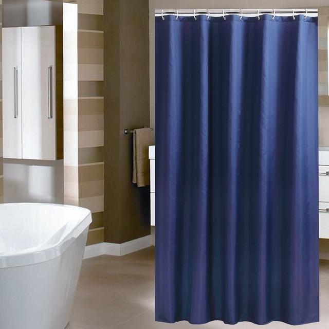 Solid Dark blue color high quality bathroom curtains shower curtains ...
