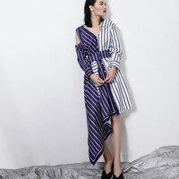 UNIQUEWHO Girls Women Asymmetric Shirt Dress White Blue Stripes Shirtdress Casual Street Fashion Knee Length Dress