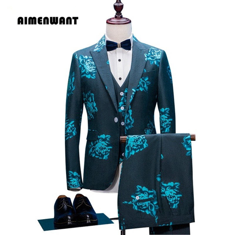 AIMENWANT Men's Clothing Tailored Green Flower Suit Single Button Print Prom Blazer Gentle Retro Jacket+Pants+Vest Suits Set