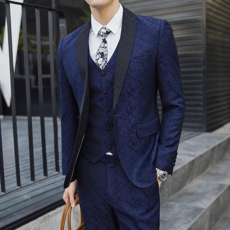 2018 осенние мужские костюмы Королевский голубое платье костюмы социальные Slim fit
