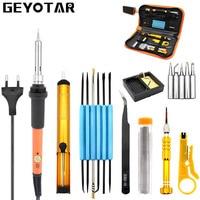 Eu Plug 220v 60w Adjustable Temperature Electric Soldering Iron Kit 5pcs Tips Portable Welding Repair Tool