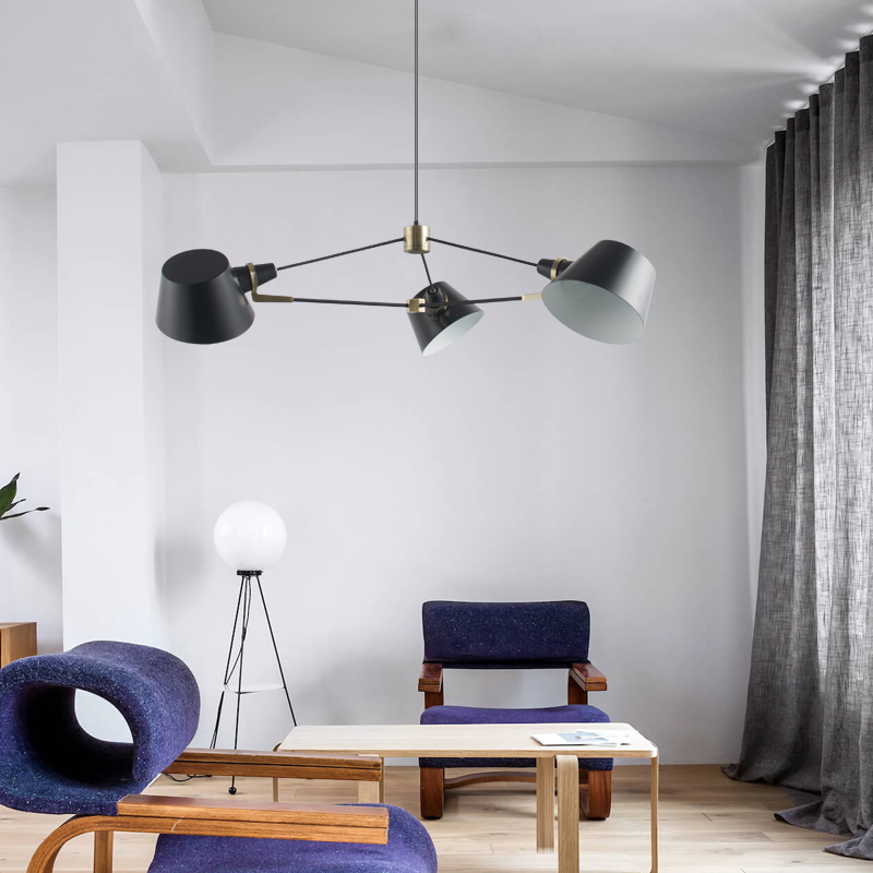 Nordic living room chandelier modern simple 3 6 PCS E27 bulb balck dining room lights American cafe dress room creative LED lamp in Pendant Lights from Lights Lighting