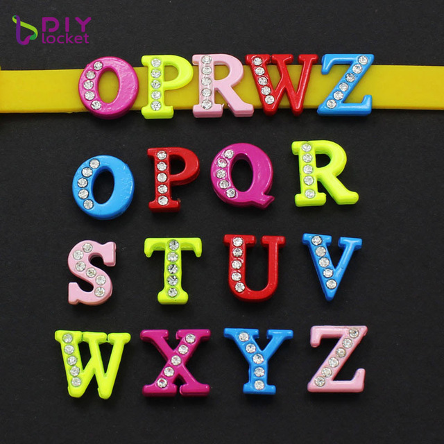 20pcs 8MM Colorful Slide Letters Charms Full Rhinestones O Z