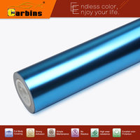 Metallic Stretch Chrome Mirror Vinyl Car Wrap Stickers Satin Light Blue Flexible Chrome With Air Bubble