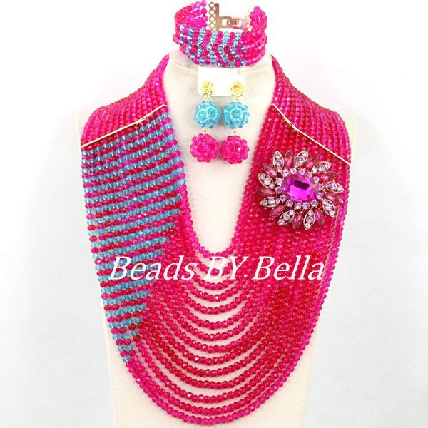 Marvelous Wedding Beads African Jewelry Set Fucsia Pink Crystal Beads Necklace Big Full Beads Women Set Free Shipping ABY495 недорго, оригинальная цена
