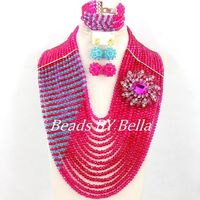 Marvelous Wedding Beads African Jewelry Set Fucsia Pink Crystal Beads Necklace Big Full Beads Women Set Free Shipping ABY495