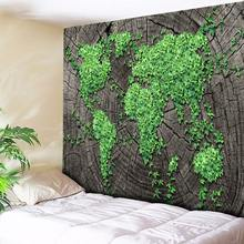 Dark Gray Annual Ring Wood and Green Leaf World Wall Hanging Bohemian Mandala Tapestry Art Home Decor Wall Rug Hippie Blanket