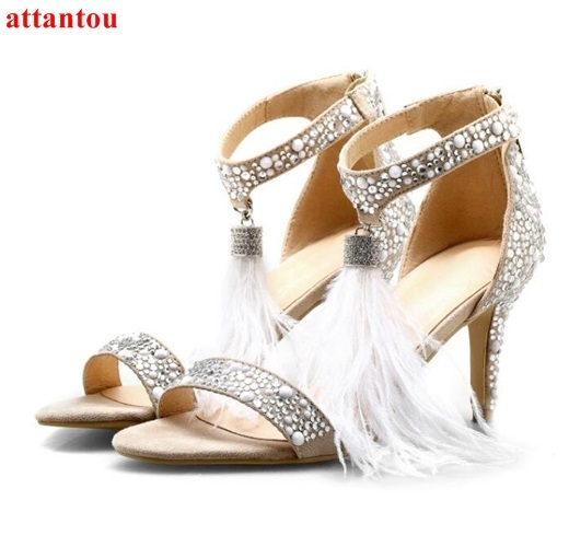 Woman wedding shoes white feather rhinestones sandals cover heel open toe  super thin high heel shoes 3c82b45b3f16