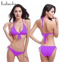 Biquini Summer Beach Bikinis Women Solid Halter Bikini Solid Padded Bra Triangle Bikini Set Swim Suit
