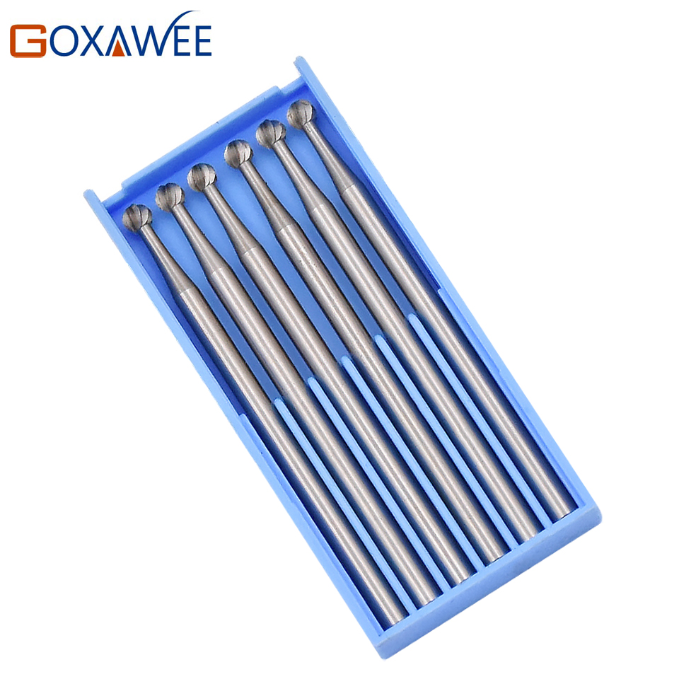 GOXAWEE 6pcs Round Burs Sets Rotary Abrasive Tool Dental Lab Burs For Dremel Rotary Tool Accessories Shank 2.35m