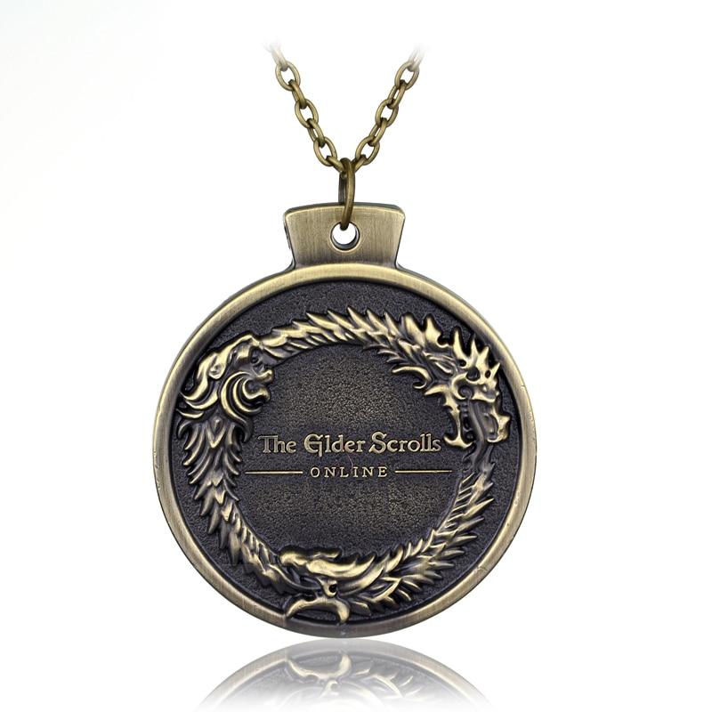 Fashion ONLINE Game THE ELDER SCROLLS OUROBOROS PENDANT NECKLACE TES Skyrim Bronze Necklace