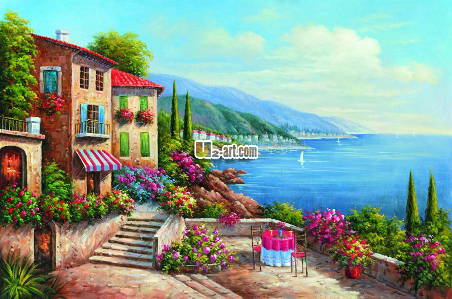 Aliexpress Com Beautiful Blue Sky And Colorful House Painting Oil Reproduction City Beside Sea Natural Scenery Prints Home Decoration From Reliable