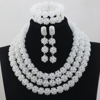 Bright Clear Pure White Crystal Beads Jewelry Set Nigerian African Wedding Women Indian Bridal Necklace Set Free Shipping ALJ755