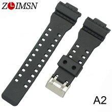 ZLIMSN Rubber Strap Wrist Men Black Silicone Watchbands Military Sweatband Watch Band Sport Straps Watchband