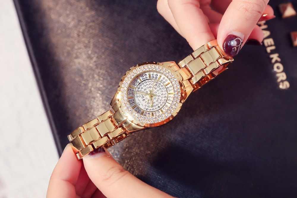 2019 Для женщин горный хрусталь часы Lady Diamond платье часы Нержавеющаясталь лентой женские наручные часы с браслетом с украшением в виде кристаллов часы, часы для мужчин