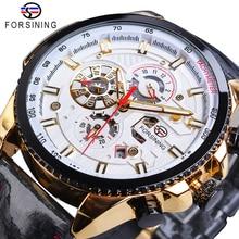 Forsining Automatic Men Watch Casual Golden Date Polish Black Leather Belt Mechanical Watches Waterproof Clock Relogio Masculino цены онлайн