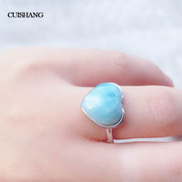 CSJ Natural blue Larimar rings sterling 925 silver Vintage Style Jewelry Wedding Engagement Party for Women Lady Girl Gift