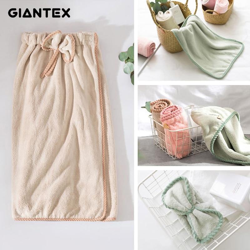 GIANTEX 4pcset Women Bathroom Microfiber Bath Towels for adults Bath Towel Hair Towel Set serviette de bain toalhas de banho
