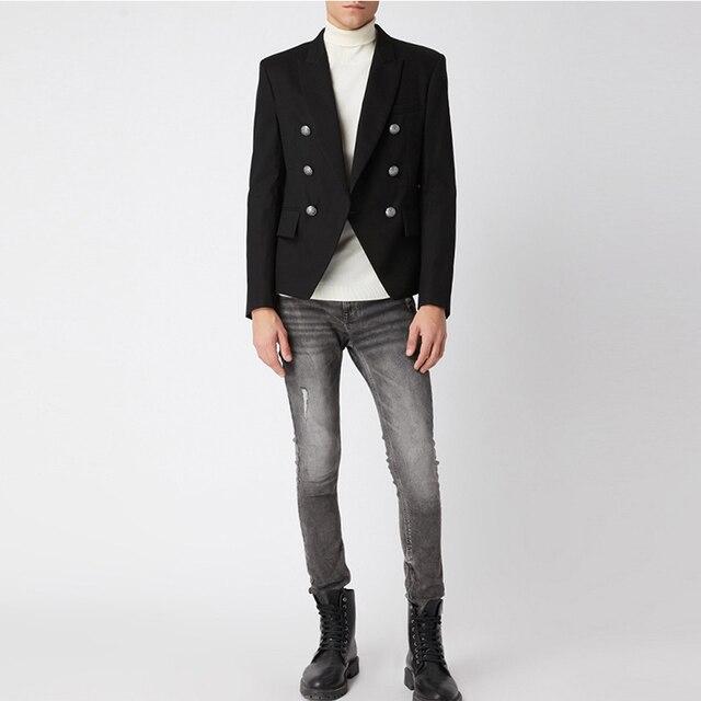 Мужской классический двубортный пиджак с металлическими кнопками в форме льва, дизайнерский подиумный пиджак, верхняя одежда, 2020