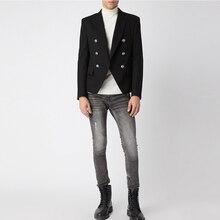 고품질 활주로 2019 디자이너 남자 블레이저 클래식 더블 브레스트 메탈 라이온 버튼 블레이저 자켓 겉옷