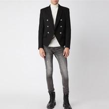 คุณภาพสูง 2020 รันเวย์ Designer ผู้ชายเสื้อคู่คลาสสิก Double Breasted ปุ่มโลหะสิงโต Blazer แจ็คเก็ตสวมใส่ด้านนอก