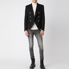 HIGH QUALITY Runway 2020 Designer Mens Blazer Classic Double Breasted Metal Lion Buttons Blazer Jacket Outer Wear