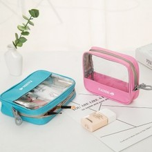 Fashion Travel transparent washing bag, admission bath cosmetic storage portable travelling articles