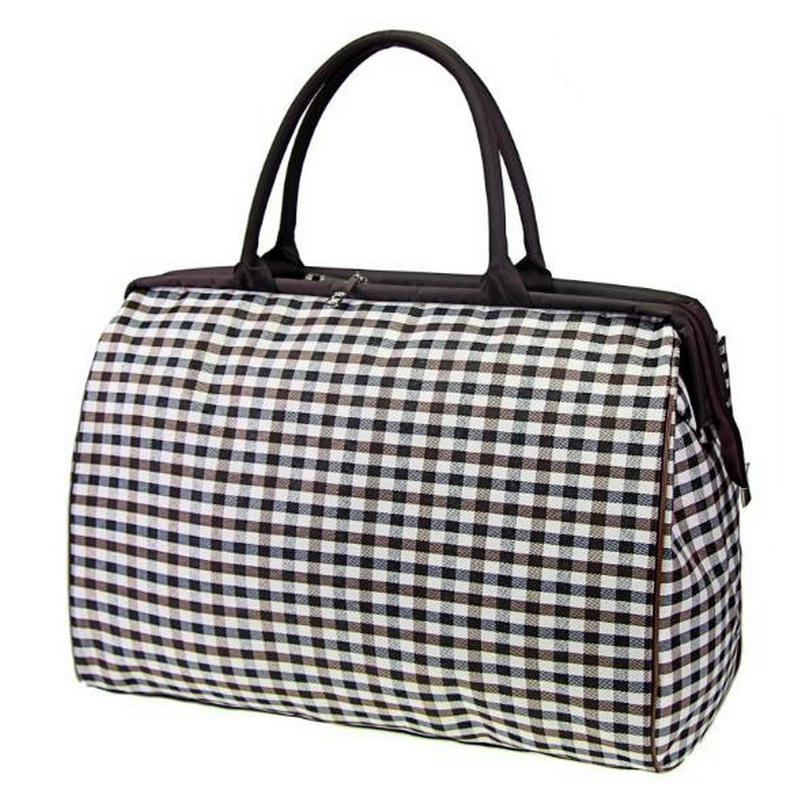 Large Capacity Portable Weekend Bag Overnight Tote Bag Red And White Checkered Luggage Duffel Bag for Women Girls