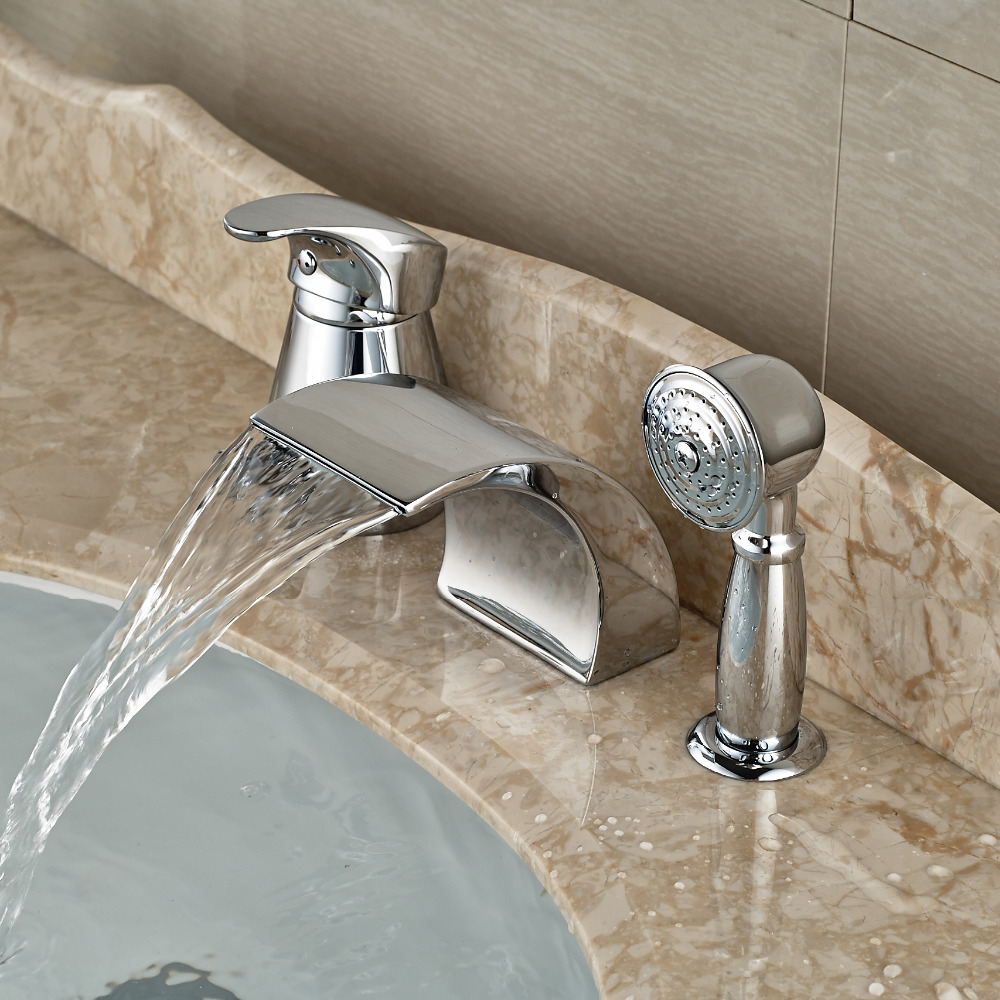 Modern Waterfall Curve Spout Roman Tub Faucet Deck Mount 3pcs Bathroom Bathtub Mixer Taps with Pull Out Handshower
