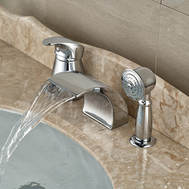 Modern Waterfall Curve Spout Roman Tub Faucet Deck Mount