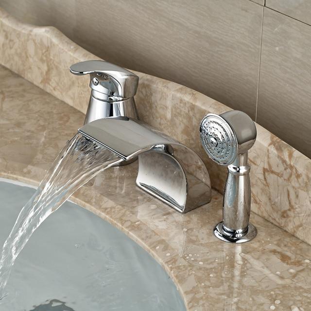Modern Waterfall Curve Spout Roman Tub Faucet Deck Mount