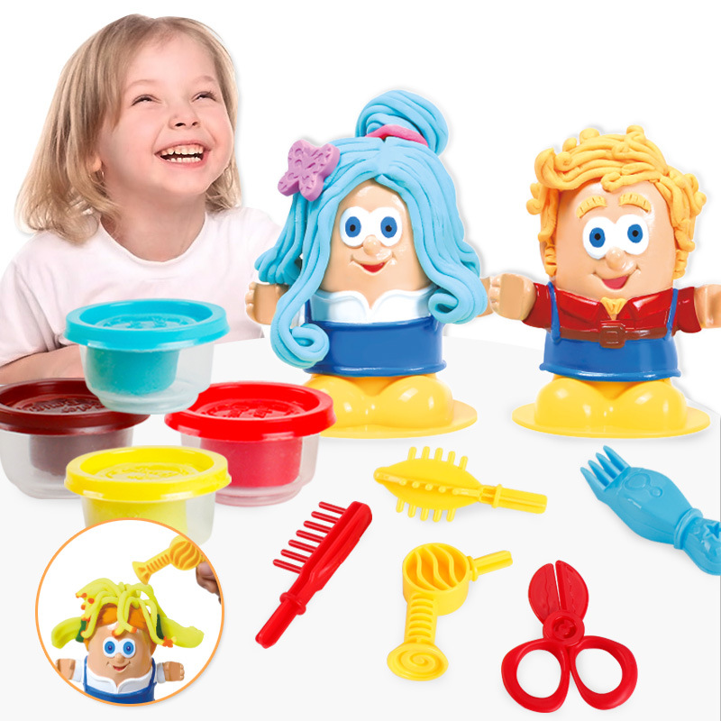 3D DIY Hairstylist Creative Color Play Dough Fashion Hair Stylist Environmental Plasticine&Tool Educational Toy Children Gift