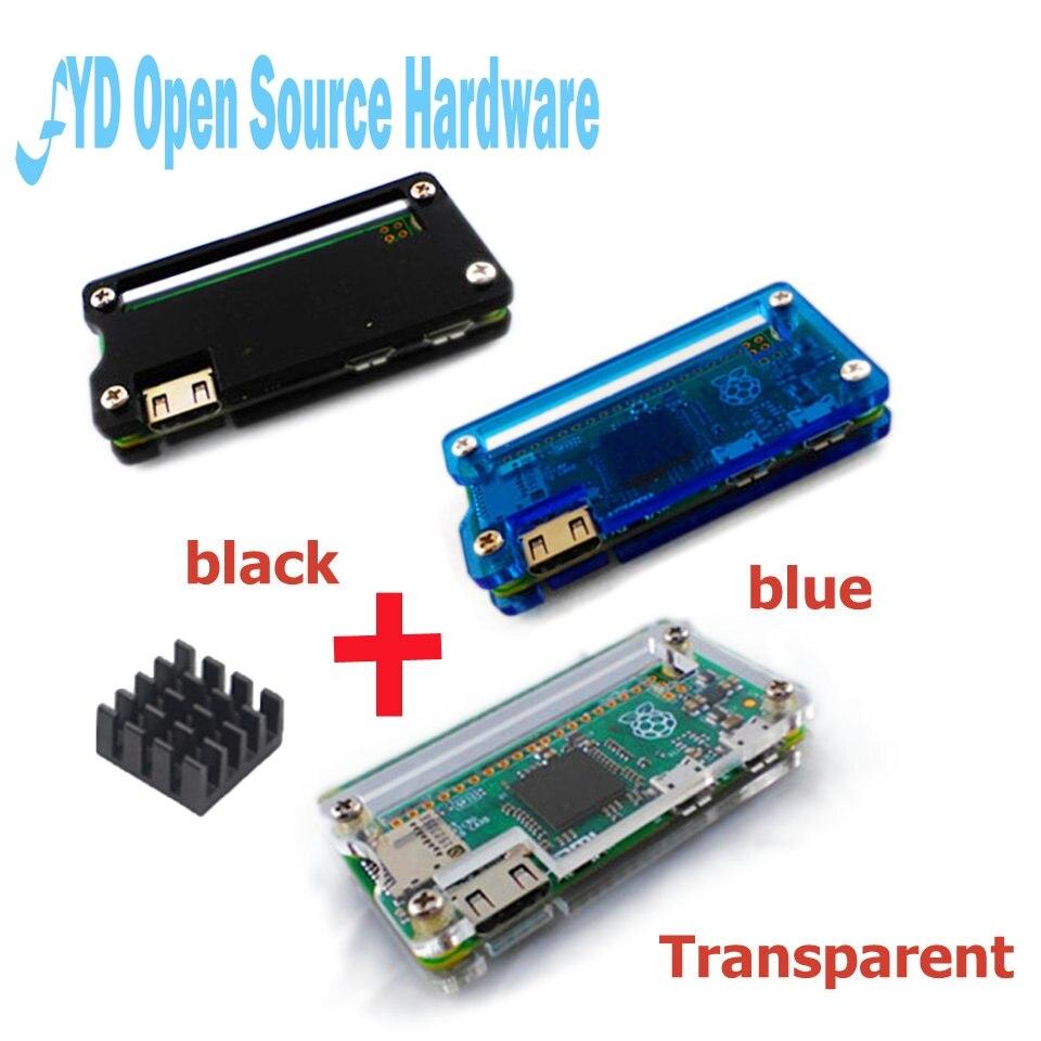 Framboesa pi zero w acrílico caso 3 cores caixa escudo + dissipador de calor transaperent preto azul acrílico caixa de cerco para rpi zero w