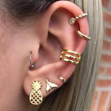 7 Pcs/set Women Simple Golden Pineapple Crystal Geometry Fishtail Stud Earrings Set Party Wedding Cute Jewelry Accessories