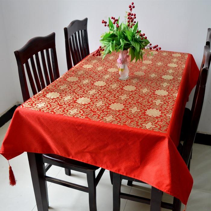 빈티지 꽃 실크 브로케이드 식탁보 광장 사각형 테이블 커버 술 럭셔리 고급 중국 테이블 천으로