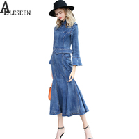 Luxury Bodycon Women Jean Dresses 2017 Autumn Fashion New Slim Full Flare Sleeve Stand Sashes Classic