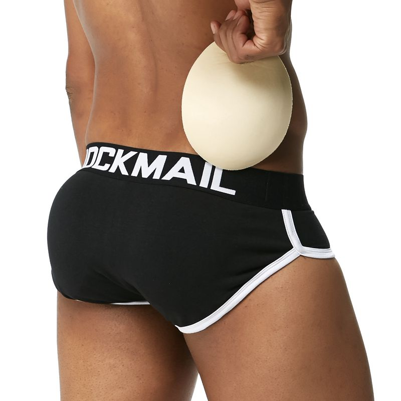 JOCKMAIL Push Up Buttocks Cup Mens Briefs Enhancing Mens Padded Underwear Sexy Penis Pouch Bulge Underpants Cotton Panties Black