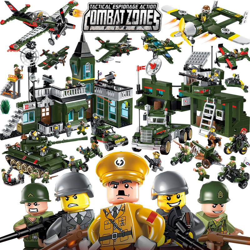 Enlighten Military Educational Building Blocks Toys For Children Gifts Army Jeep Moto Gun World War Hero Weapon Thank Gun enlighten 1406 8 in 1 combat zones military army cars aircraft carrier weapon building blocks toys for children