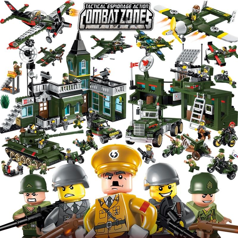 Enlighten Military Educational Building Blocks Toys For Children Gifts Army Jeep Moto Gun World War Hero Weapon Thank Gun