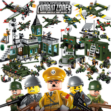 Enlighten Military Educational Building Blocks Toys For Children Gifts Army Jeep Moto Gun World War Hero