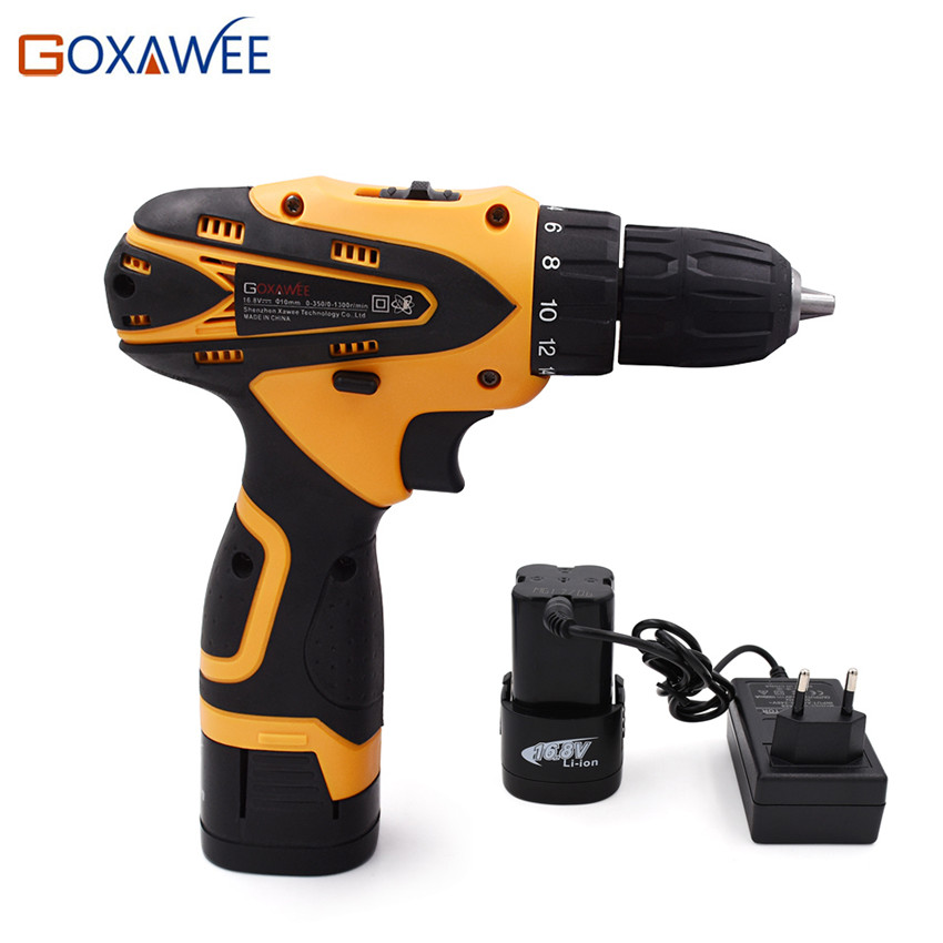 GOXAWEE 16.8V Electric Screwdriver Cordless Electric Drill Parafusadeira Two Speed Multi-function Lithium Battery Power Tool