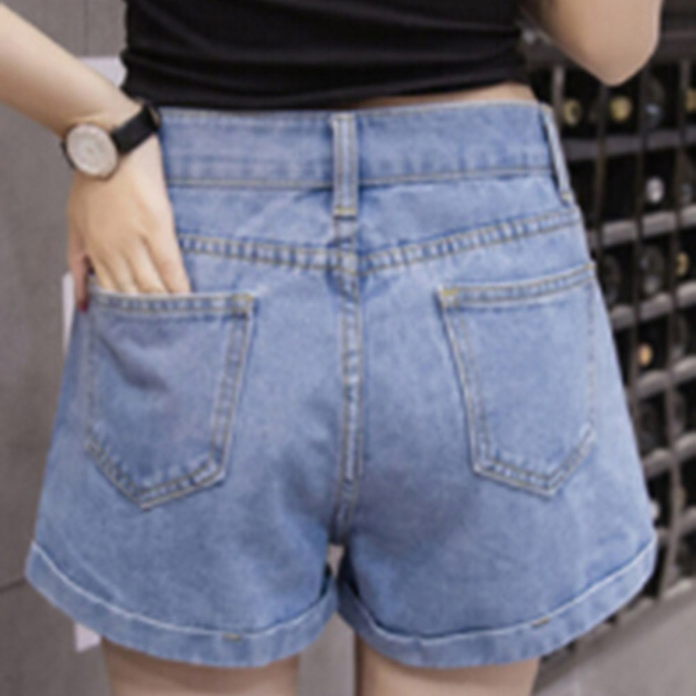 2019 New Euro Style Women Denim Shorts Vintage High Waist Cuffed Jeans Shorts Street Wear Sexy Shorts For Summer Spring Autumn