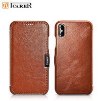 For iPhone 6 Case iPhone X Plus iCarer Classic Genuine Leather Flip Phone Case For iPhone 7 8 Plus Cowhide Leather Phone Bags